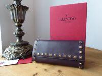 Valentino Rockstud Continental Flap Wallet in Rubin Oxblood Smooth Calfskin