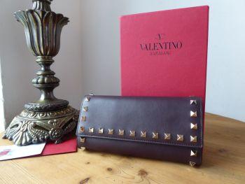 Valentino Rockstud Continental Flap Wallet in Rubin Oxblood Smooth Calfskin - SOLD