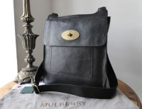 Mulberry Classic Large Antony Messenger in Black Natural Vegetable Tanned Leather - New*