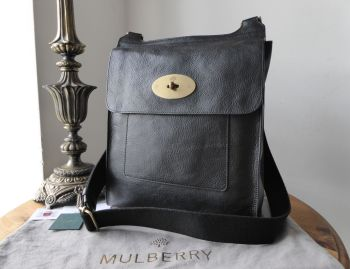Mulberry Classic Large Antony Messenger in Black Natural Vegetable Tanned Leather - SOLD