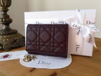 Dior Lady Dior Compact Purse Wallet in Amaranth Cannage Lambskin