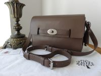 77d53a895445 Mulberry Bayswater Shoulder Bag in Taupe Shiny Goat Leather with Silver  Hardware