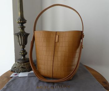Mulberry Small Kite Tote in Camel Deep Embossed Croc Printed Leather - SOLD