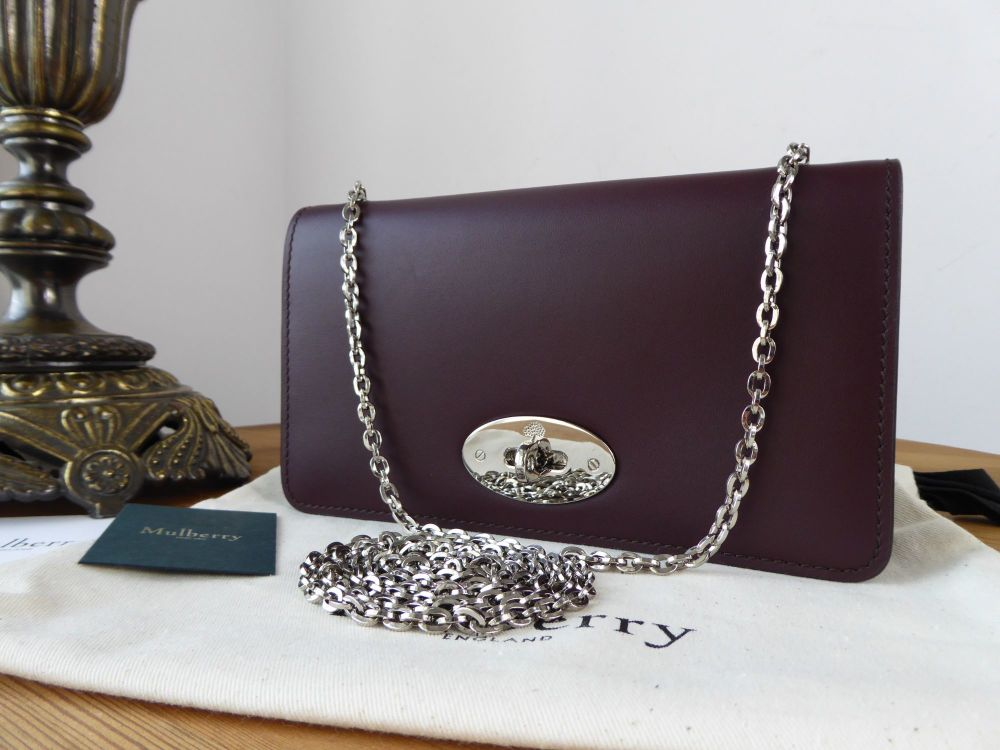 Mulberry Classic Bayswater Clutch Wallet on Chain in Oxblood Sleek Calf wit