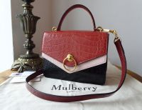 Mulberry Limited Edition Harlow Satchel in Red, Ochre, Pastel Pink and Black Shiny Croc Printed Leather - New*