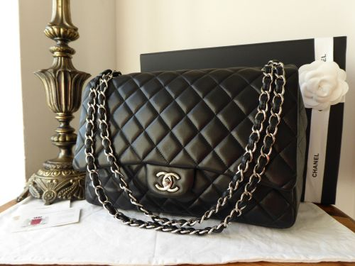 Chanel Maxi Single Flap in Black Lambskin with Shiny Silver Hardware