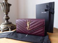 Saint Laurent YSL Classic Monogram Large Continental Flap Wallet in Dark Legion Red Grain De Poudre Textured Matelasse