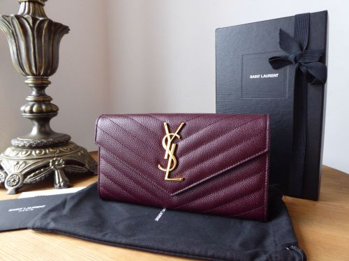Saint Laurent YSL Classic Monogram Large Continental Flap Wallet in Dark Le