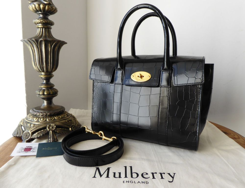 Mulberry Small Bayswater in Black Polished Embossed Croc Print Leather