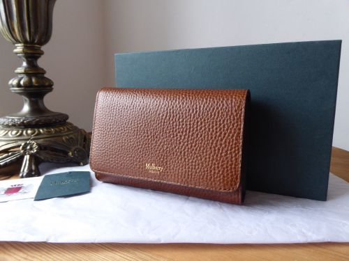 Mulberry Medium Continental Wallet Purse in Oak Grained Vegetable Tanned Le