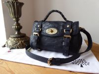 Mulberry Mini Alexa Satchel in Midnight Blue Large Silky Snake Printed Leather - As New