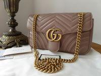 Gucci GG Marmont Small Shoulder Bag in Porcelain Rose Matelassé Calfskin - As New