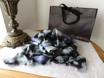 Mulberry Blurry Bloom Square Printed Scarf Wrap in Denim Blue Modal Silk Mix - SOLD