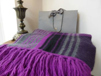 Mulberry Ancient Tartan XXL Blanket Scarf in Purple & Charcoal Grey Angora Mix - SOLD