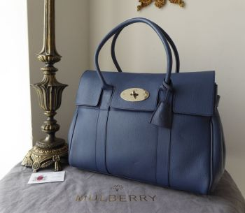dab9001a326 Mulberry Classic Heritage Bayswater in Slate Blue Grainy Print Leather -  SOLD