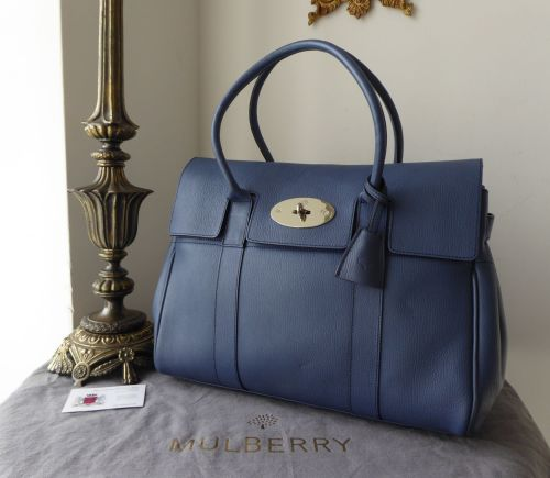 Mulberry Classic Heritage Bayswater in Slate Blue Grainy Print Leather