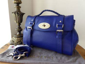 e86db404aa4 Mulberry Regular Alexa Satchel in Neon Blue Goat Printed Calf - SOLD