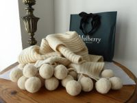 Mulberry Pompom Winter Knitted Scarf in Soft Cream Alpaca Wool Mix - New