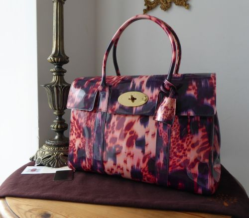 Mulberry Classic Bayswater in Plum Loopy Leopard Glossy Patent Leather