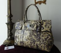 Mulberry Classic Bayswater in Putty Smudged Leopard Printed Patent Leather with Shiny Dark Gunmetal Silver Hardware