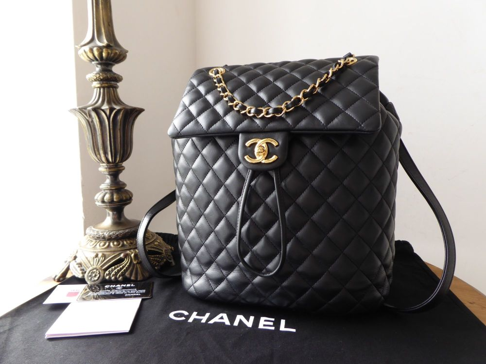 f8fe398339ac Chanel Urban Spirit Backpack in Black Quilted Calfskin with Gold Hardware &