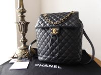 Chanel Urban Spirit Backpack in Black Quilted Calfskin with Gold Hardware & Felt Liner