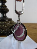 Dior Oval Key Chain Bag Charm in Rose Pink Patent Cannage with Silver Hardware