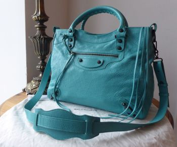 Balenciaga Classic Velo in Bleu Tropical Agneau with Dark Brass Arena Hardware