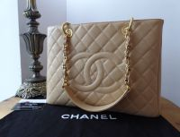 Chanel Grand Shopping Tote GST Beige Caviar with Gold Hardware