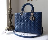 Dior Large Lady Dior in Bleu Minerale Lambskin with Shiny Silver Hardware