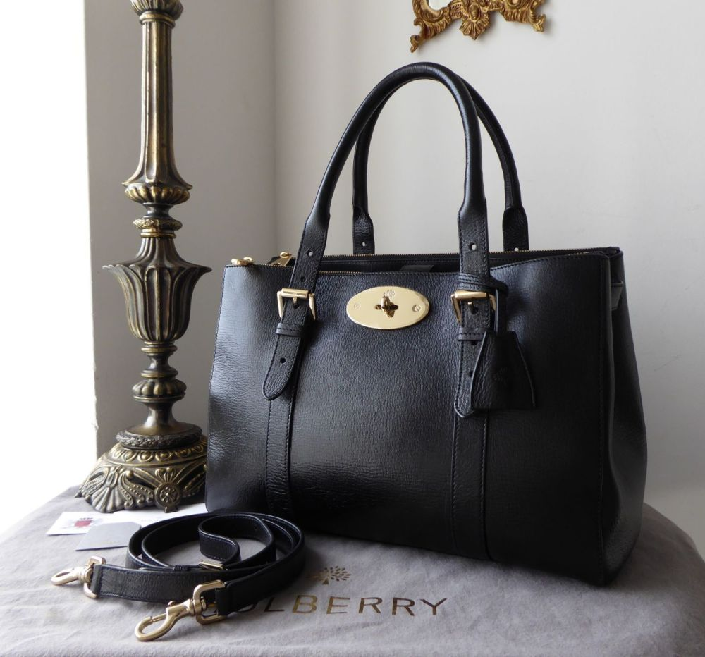 f9be625bc8 Mulberry Bayswater Double Zip Tote in Black Shiny Goat Leather ...