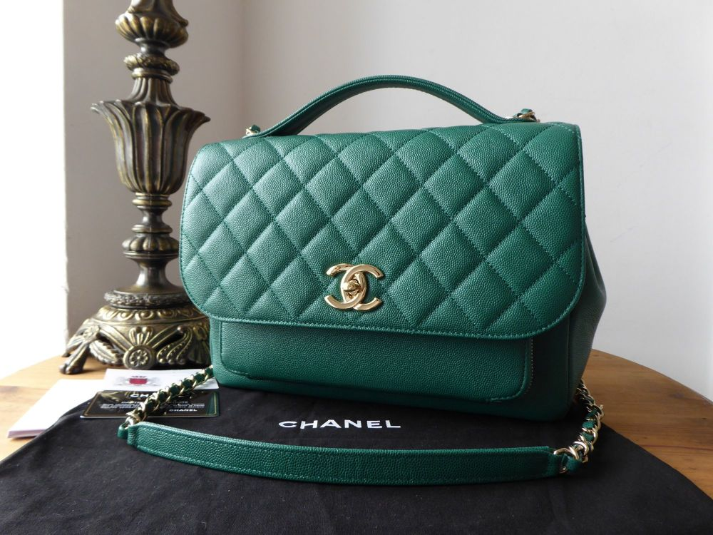 Chanel Business Affinity Large Flap Bag in Emerald Green Caviar with Shiny
