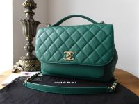 Chanel Business Affinity Large Flap Bag in Emerald Green Caviar with Shiny Champagne Gold Hardware