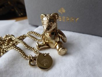Mulberry Teddy Bear Necklace in Gold Tone Metal - SOLD
