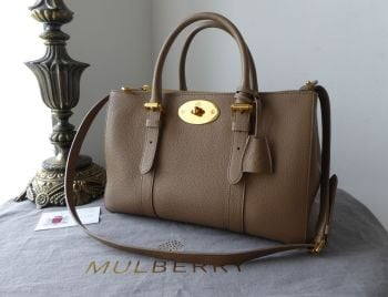 Mulberry  Double Zip Bayswater Tote in Taupe Small Classic Grain Leather - SOLD