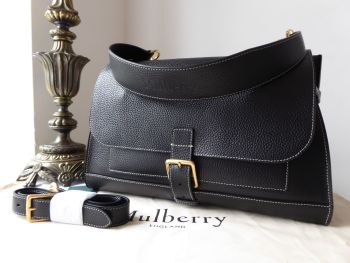 Mulberry Chiltern Buckle Satchel in Black Grained Vegetable Tanned Leather - SOLD