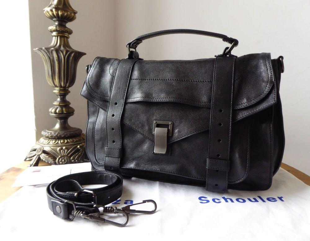 Proenza Schouler PS1 Medium Satchel in Black Lux Glazed Lambskin with Gunme