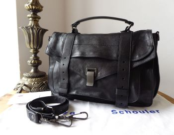Proenza Schouler PS1 Medium Satchel in Black Lux Glazed Lambskin with Gunmetal Hardware