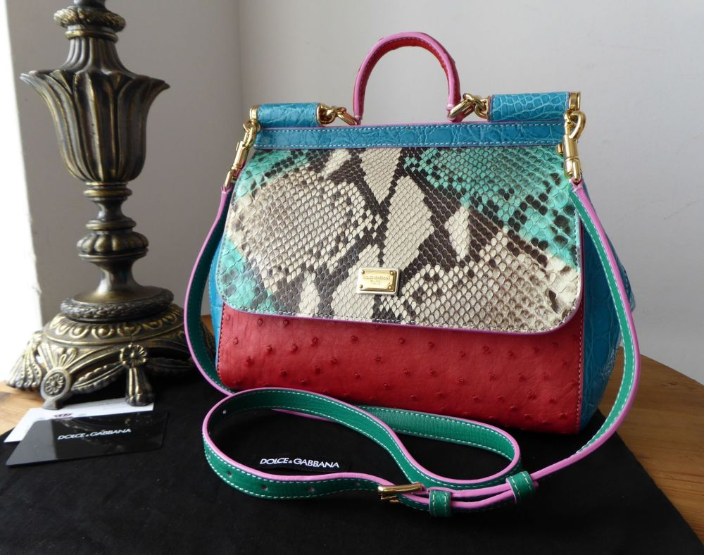 Dolce & Gabbana Limited Edition Medium Sicily in Crocodile, Python and Ostr