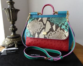 Dolce & Gabbana Limited Edition Medium Sicily in Crocodile, Python and Ostrich Leather