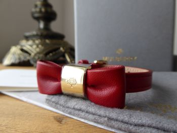 Mulberry Bow Bracelet in Poppy Red Silky Nappa with Shiny Gold Tone Hardware - SOLD