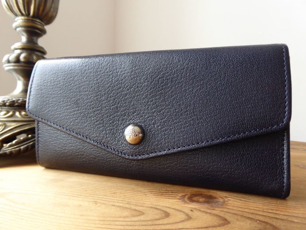 Mulberry Dome Rivet Continental Envelope Wallet in Midnight Blue Goatskin w