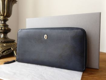 Mulberry Cara Delavingne Camo Zip Around Continental Purse in Midnight Blue Goat Leather - SOLD