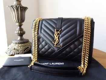 Saint Laurent YSL Envelope Medium Black Grain De Poudre Textured Matelasse - SOLD