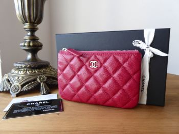 Chanel Small Zip Purse O Case in Dark Pink Caviar with Silver Hardware - SOLD