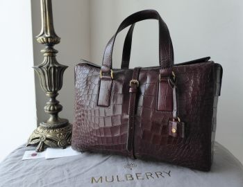 Mulberry Roxette in Oxblood Deep Embossed Croc Printed Leather - SOLD