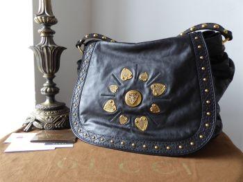 Gucci XL Irina Shoulder Hobo Flap Bag in Black Distressed Calfskin - SOLD