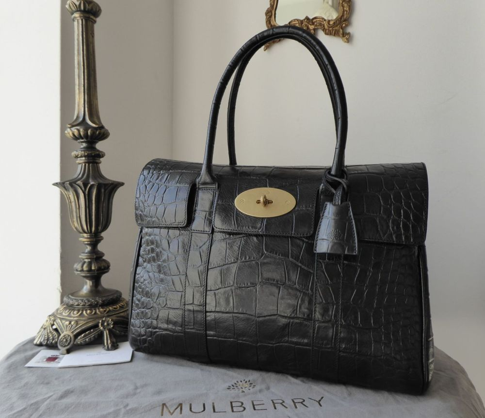 Mulberry Classic Heritage Bayswater in Black Croc Printed Leather with Line