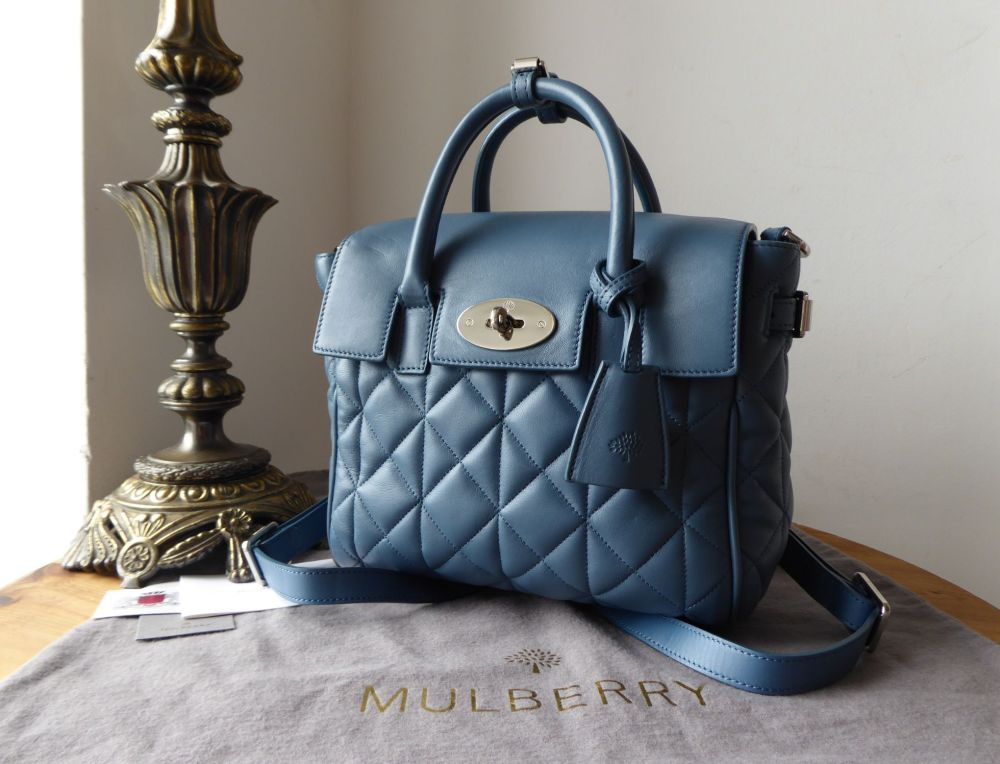 Mulberry Cara Delevingne Mini Backpack in Steel Blue Quilted Lamb Nappa Lea