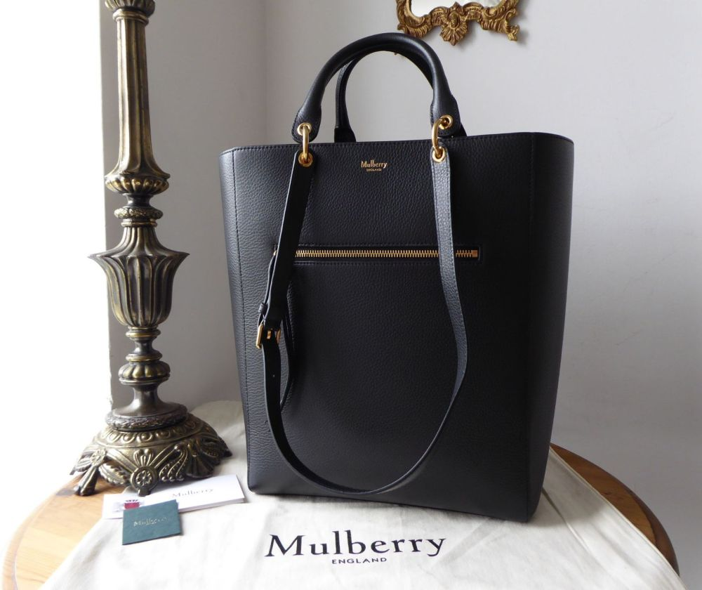 Mulberry Large Maple Tote in Black Small Classic Grain & Zipped Felt Liner